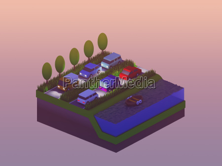 isometric city buildings landscape road and