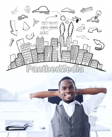 composite image of cityscape with brainstorm