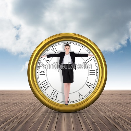 composite image of businesswoman performing a