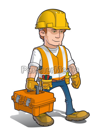 construction worker carying a toolkit