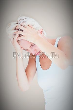 composite image of sad blonde woman