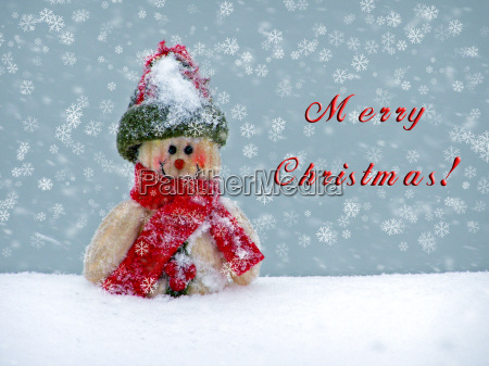 merry christmas postcard with a snowman