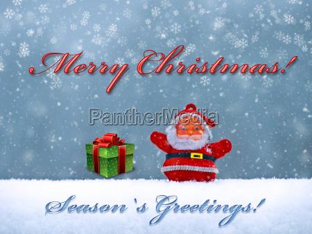 merry christmas postcard with santa claus