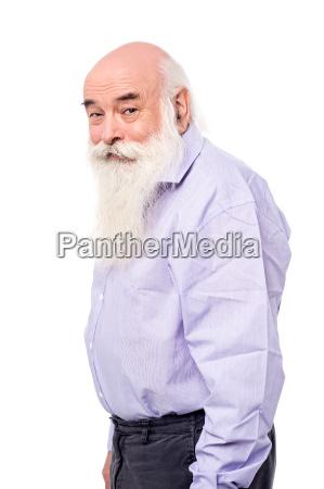 elder man with positive grimace