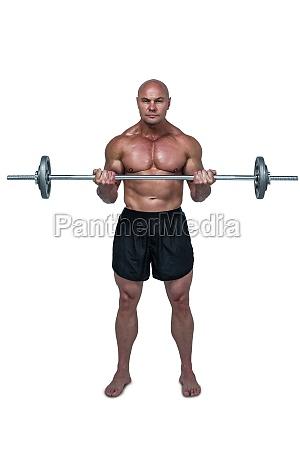 full length portrait of man lifting