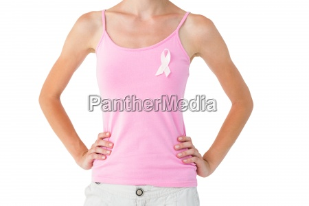 woman wearing pink ribbon for breast