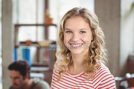 portrait of happy beautiful woman in