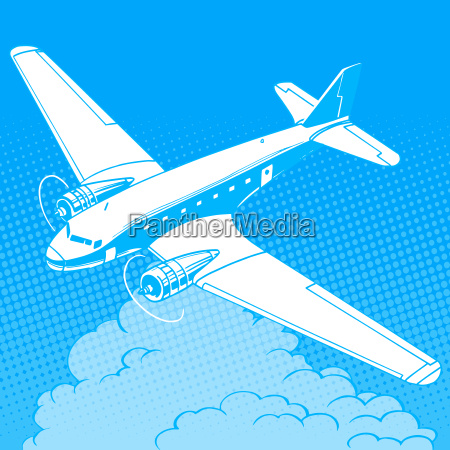 airplane in the clouds vintage retro