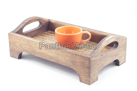 coffee cup on wooden tray isolated