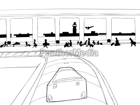 suitcase on baggage carousel outline