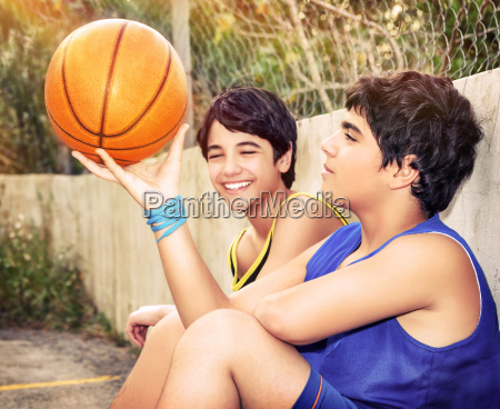 happy basketball players