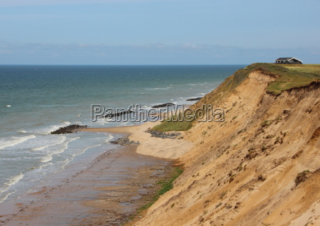sandy cliff landscape at ocean and