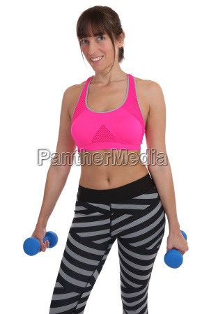 fitness woman doing sports workout holding