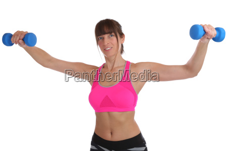 fitness workout young woman holding dumbbells