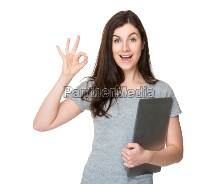young woman hold with notebook computer