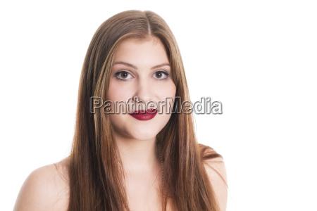geschminkte woman portrait with red lips
