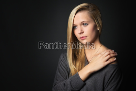young blond girl in the portrait