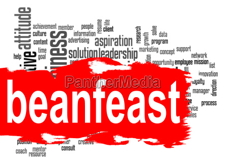 beanfeast word cloud with red banner