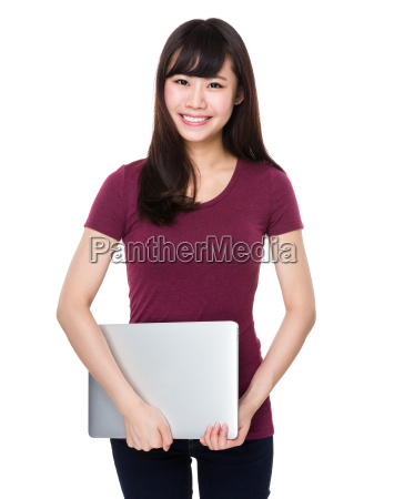asian woman hold with laptop computer