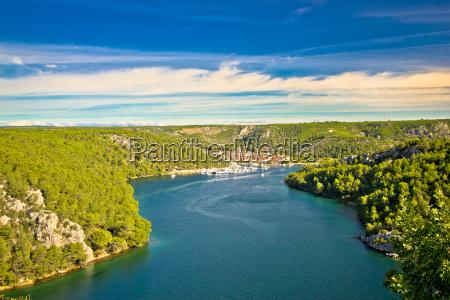 krka river and town of skradin