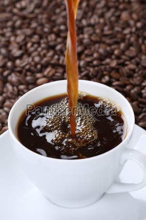 hot coffee pour in coffee cup