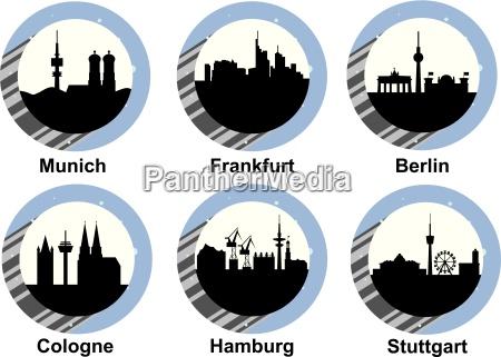 icon set german cities