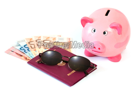 passport with money and piggy bank