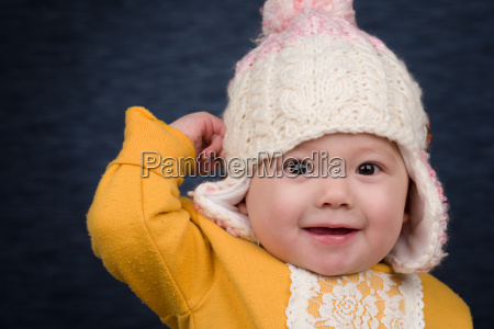 baby girl with winter hat