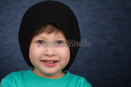 young boy with winter hat