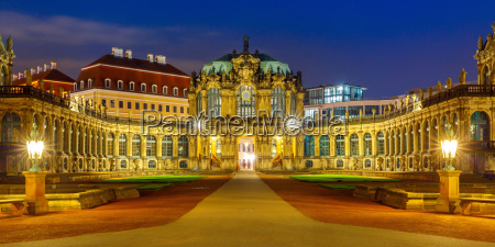 panorama of zwinger at night in