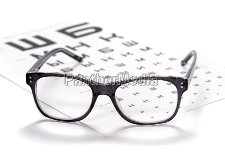 reading eyeglasses and eye chart close
