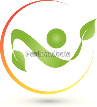 man with leaves and circle logo