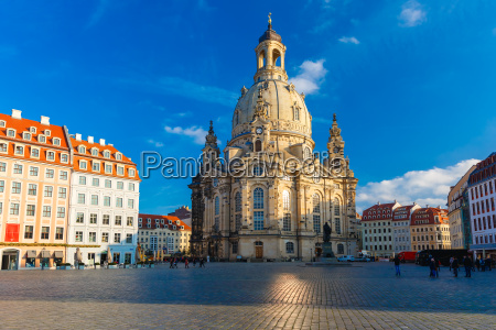 frauenkirche in the morning dresden germany