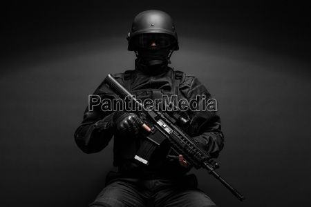 police officer with weapons