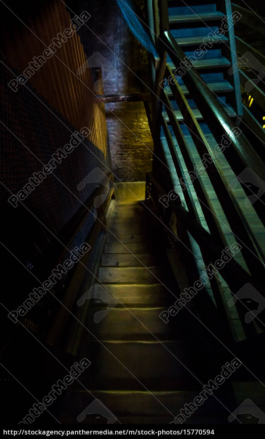 an, old, hazardous, wooden, staircase, leads - 15770594