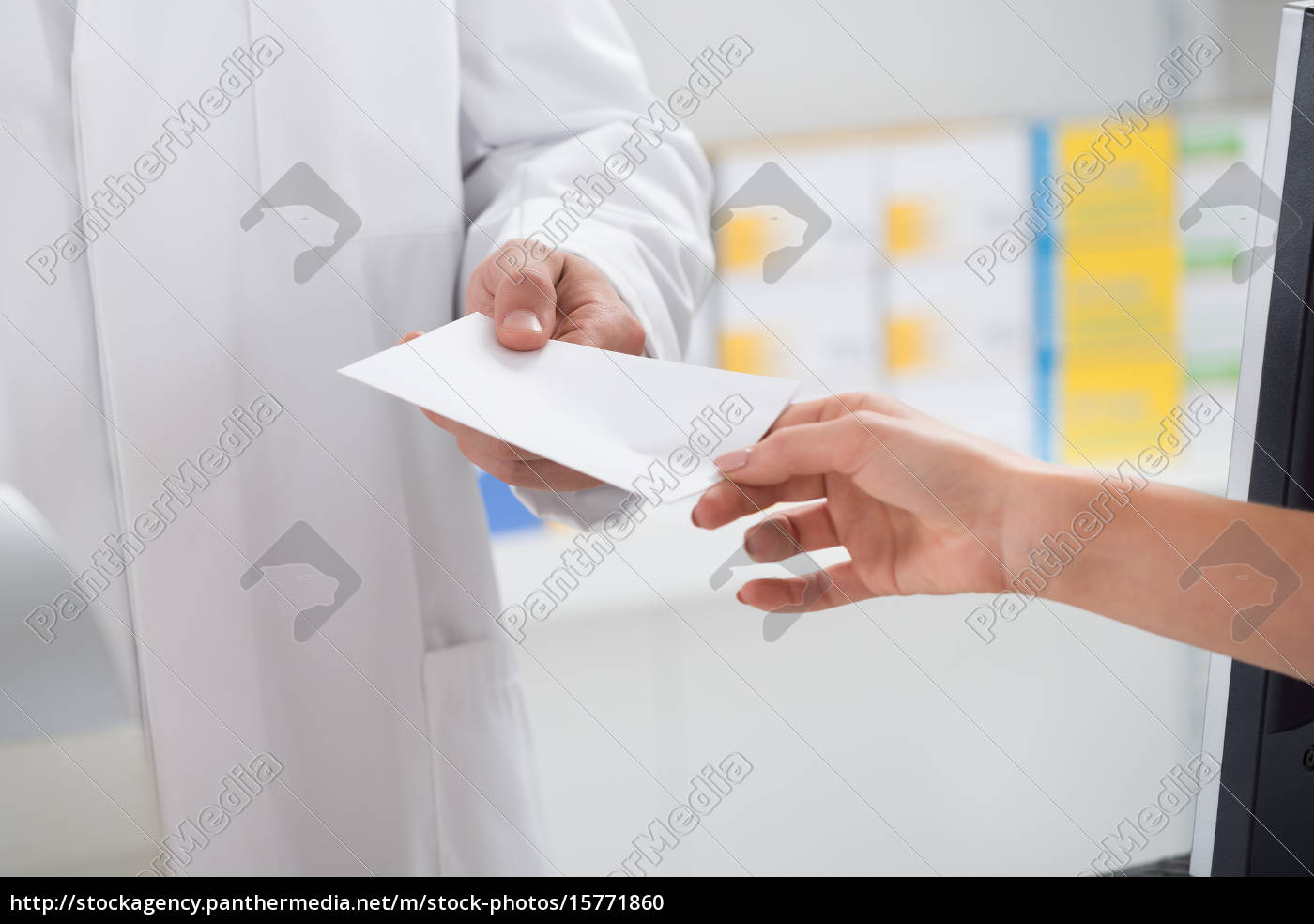 woman, giving, prescription, paper, to, pharmacist - 15771860