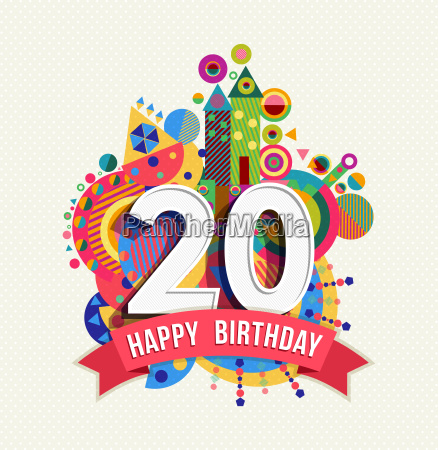 happy birthday 20 year greeting card