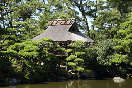 view of japanese garden with rest