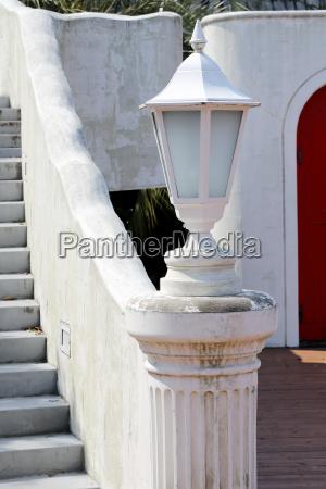 white garden lamp lamp in a