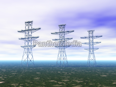 electricity pylons on meadow