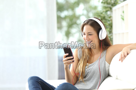 happy, girl, listening, to, music, from - 15784922