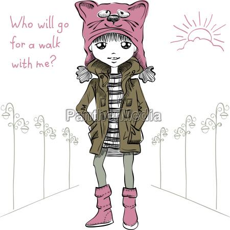 vector, cute, girl, , in, funny - 15785698