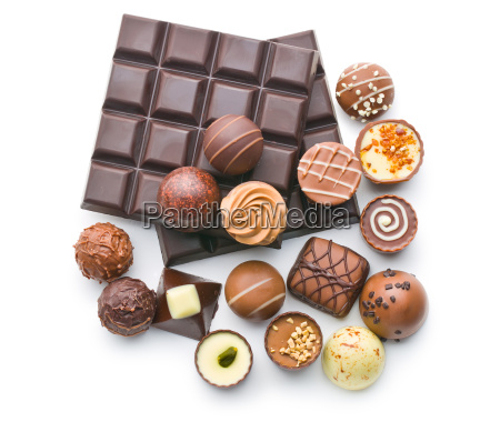 various chocolate pralines and chocolate bar