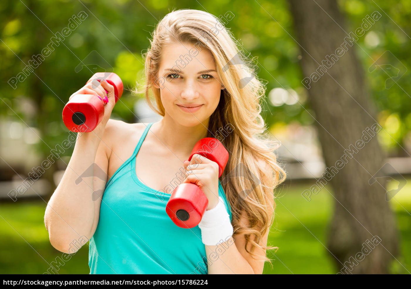 sports, girl, exercise, with, , dumbbells - 15786224