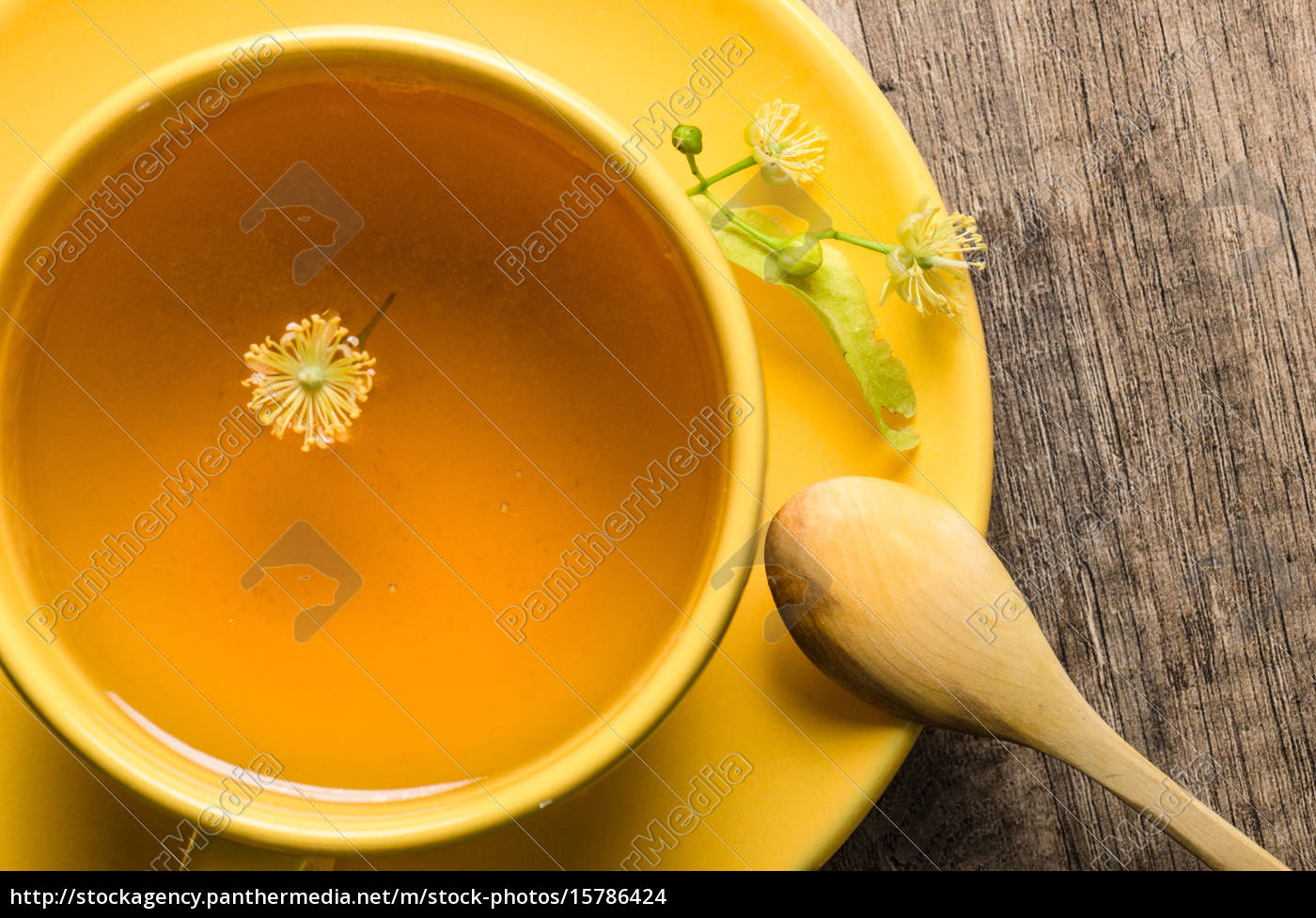 yellow, cup, with, linden, tea, on - 15786424