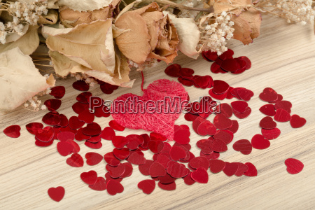 bouquet of dried roses and red
