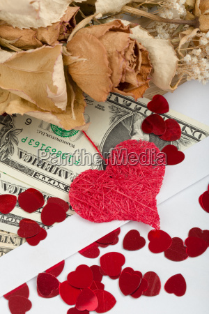 valentine, concept, with, hearts, , dry, roses - 15788662