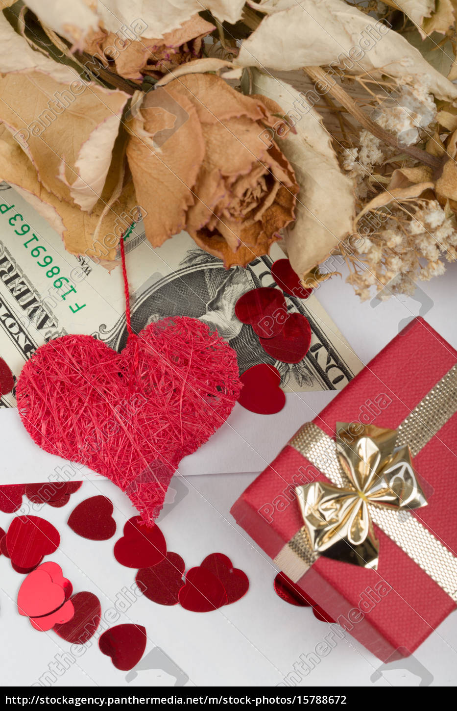 valentine, concept, with, hearts, , dry, roses - 15788672