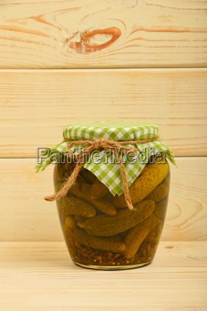 jar, of, pickled, cucumbers, at, vintage - 15789512