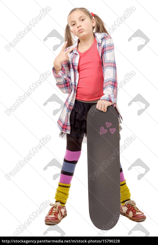 fashion, pretty, little, girl, with, skateboard, - 15790228